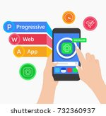 pwa progressive web app  the... | Shutterstock .eps vector #732360937