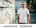 young stylish man wearing white ... | Shutterstock . vector #732362569