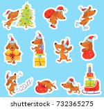 Stock vector set of christmas or new year stickers with cute puppy dog is the symbol of year in santa hat 732365275