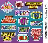 vector set of cartoon word ... | Shutterstock .eps vector #732367174
