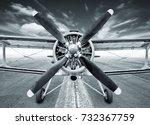 biplane on a runway   Shutterstock . vector #732367759