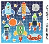 cartoon vector space rockets... | Shutterstock .eps vector #732368347