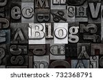 the word blog made from old... | Shutterstock . vector #732368791