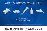 ocean animals and plastic... | Shutterstock .eps vector #732369805