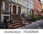 a row of colorful brownstone... | Shutterstock . vector #732369835