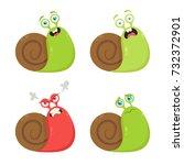 funny cartoon snail. vector set | Shutterstock .eps vector #732372901