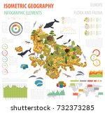 isometric 3d european flora and ... | Shutterstock .eps vector #732373285