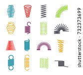 metal spring set. colorful... | Shutterstock .eps vector #732373699