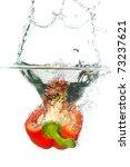 Red Paprika In Water Splash...