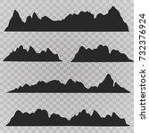 mountains landscape silhouette... | Shutterstock .eps vector #732376924