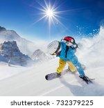 young man snowboarder running...   Shutterstock . vector #732379225