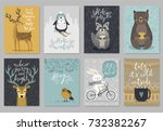 christmas animals card set ... | Shutterstock .eps vector #732382267