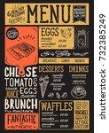 brunch food menu for restaurant ... | Shutterstock .eps vector #732385249