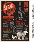 steak menu for restaurant and... | Shutterstock .eps vector #732385261