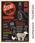 steak menu for restaurant and...   Shutterstock .eps vector #732385261