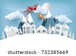 illustrations of airplanes... | Shutterstock .eps vector #732385669