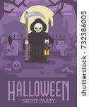 halloween poster illustration... | Shutterstock .eps vector #732386005