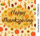 happy thanksgiving on tossed... | Shutterstock .eps vector #732386011