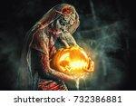 halloween. scary zombie bride... | Shutterstock . vector #732386881