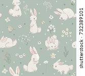seamless pattern with cute... | Shutterstock .eps vector #732389101