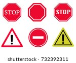 stop and warning vector signs... | Shutterstock .eps vector #732392311