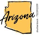 hand drawn arizona state design | Shutterstock .eps vector #732392359