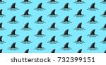 shark fin dolphin ocean doodle... | Shutterstock .eps vector #732399151