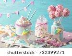 unicorn hot chocolate and... | Shutterstock . vector #732399271