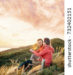 traveler young couple resting... | Shutterstock . vector #732402151