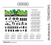 vector recycling bin icon set   | Shutterstock .eps vector #732402541