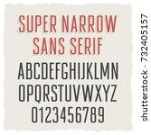 super narrow sans serif font in ... | Shutterstock .eps vector #732405157