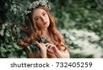 beautiful red haired girl in... | Shutterstock . vector #732405259