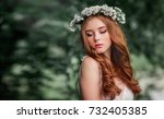beautiful red haired girl in... | Shutterstock . vector #732405385