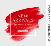 new arrivals sale text over art ... | Shutterstock .eps vector #732413029