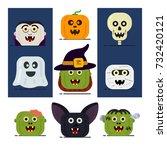 halloween flat icons. vector...   Shutterstock .eps vector #732420121