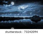 Beautiful Full Moon Reflecting...