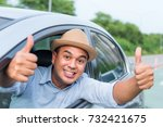 young man showing double thumb... | Shutterstock . vector #732421675