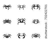 underwater crab icons set.... | Shutterstock . vector #732422701