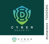 cyber security initial letter d ... | Shutterstock .eps vector #732425341
