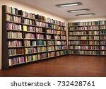 bookshelf in book store. 3d... | Shutterstock . vector #732428761