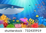 cartoon whale with coral reef... | Shutterstock . vector #732435919