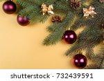 christmas background with fir... | Shutterstock . vector #732439591