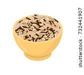 wild rice in wooden bowl... | Shutterstock .eps vector #732441907