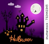 halloween poster. illustration... | Shutterstock .eps vector #732442345