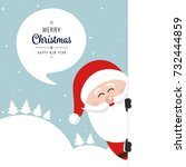 santa behind board merry... | Shutterstock .eps vector #732444859