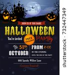 halloween party invitation with ... | Shutterstock .eps vector #732447349