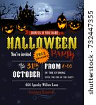 halloween party invitation with ... | Shutterstock .eps vector #732447355