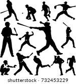 baseball player silhouette  ... | Shutterstock .eps vector #732453229