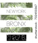 new york typography with floral ... | Shutterstock .eps vector #732453367