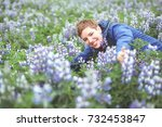 cheerful smiling woman in a... | Shutterstock . vector #732453847